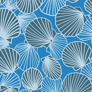 Cornflower Blue on Charcoal Scallop Pile larger