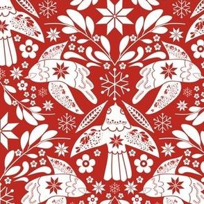 Scandinavian Folk Art Red