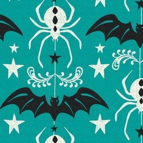 Night Creatures - Halloween Bats and Spiders Teal Ivory Large Scale