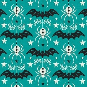 Night Creatures - Halloween Bats and Spiders Teal Ivory Regular Scale