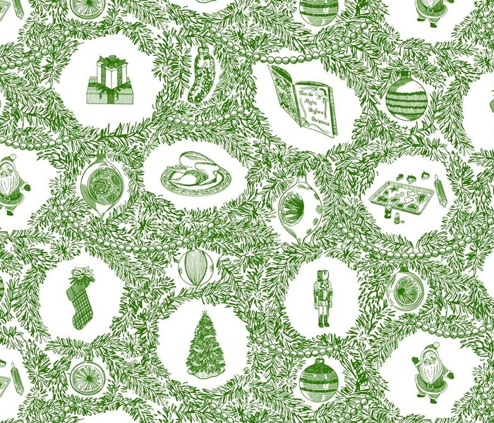 Christmas Traditions Green Toile