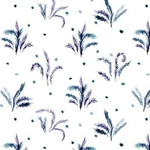 Indigo Alpine meadow - watercolor nature - plants leaves branches for modern home decor wallpaper a558-4