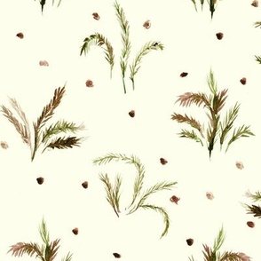 Alpine meadow - watercolor nature - plants leaves branches for modern home decor wallpaper a558-16