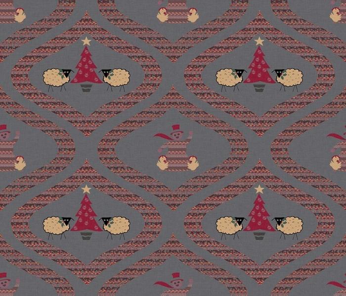 Barnyard Holiday Toile  (14x12)