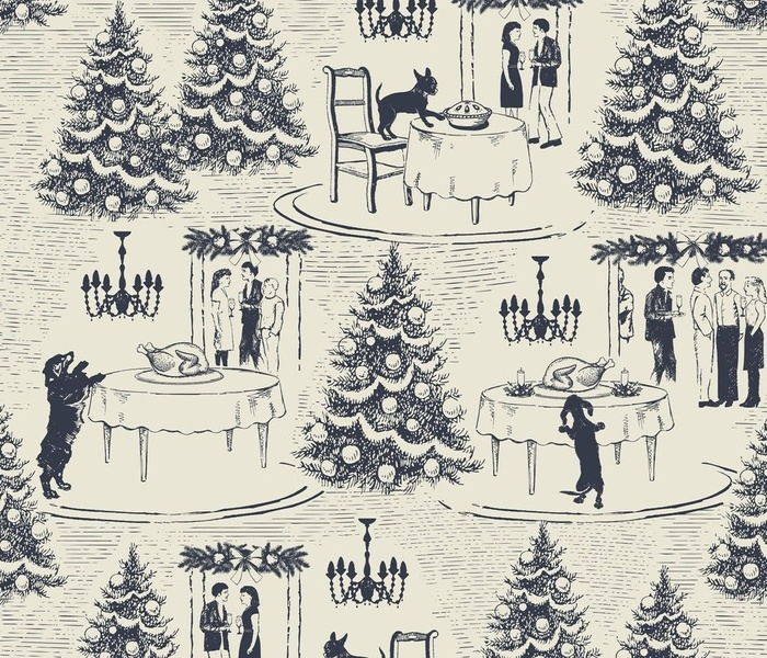 Bad Dog holiday party toile navy blue large scale