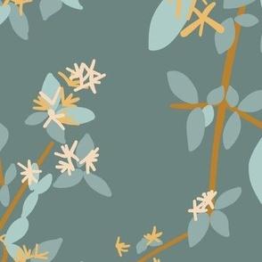 honey saffron linen honeysuckle  light blue green leaves on teal larger
