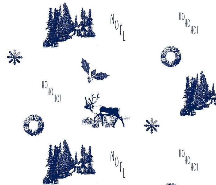 Blue Christmas Holiday Tuile