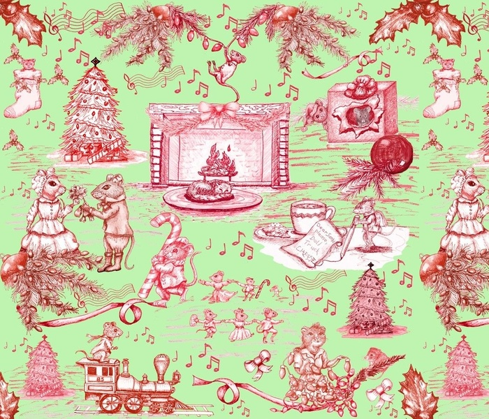 When the Cat's Away(or asleep) Christmas Toile