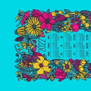 Neon Floral 2022 Tea Towel Calendar