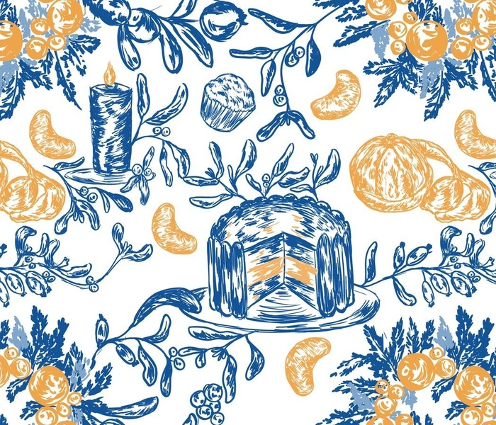 Blue Christmas toile with oranges, cake and mistletoe