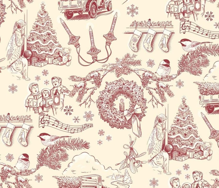 Holiday Traditions Toile Red on Cream