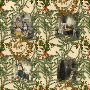 A Christmas Carol Pine Toile  ~Medium
