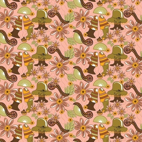 1970's Mushroom Pink Background