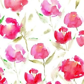 spring lake bloom - watercolor stylized peonies - painted florals - loose roses for modern home decor bedding nursery a566-1