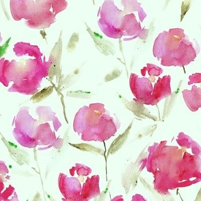 spring lake bloom - larger scale on green - watercolor stylized peonies - painted florals - loose roses for modern home decor bedding nursery a566-7
