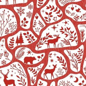 nordic style - poppy red - holiday traditions toile