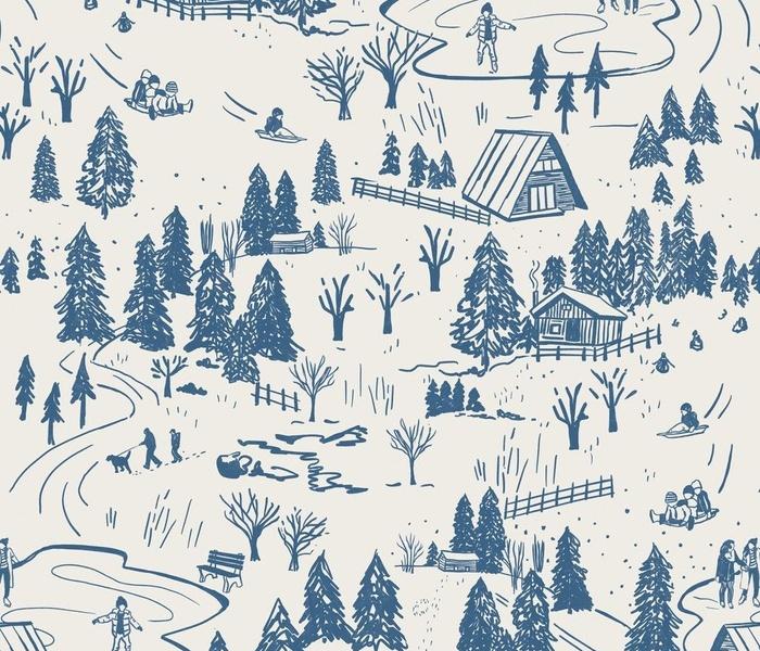 Fun in the Winter Toile - Medium Scale - Blue and Cream