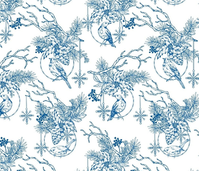 Christmas Blue Toile Ornament