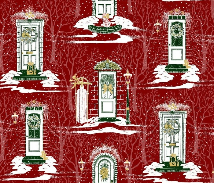 Family + Friends Holiday Toile   Small   Red Green Gold White