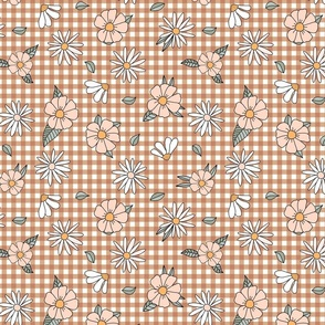 70s gingham and flowers in peach and brown