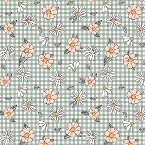 70s gingham and flowers in peach and green