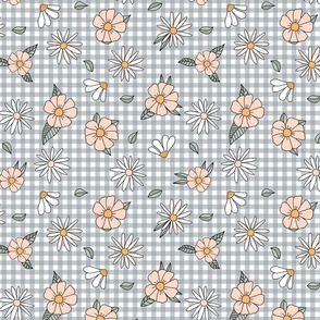 70s gingham and flowers in peach and gray