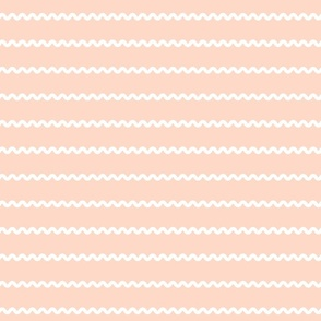 Rick Rack Stripes in white on peach vintage retro sewing