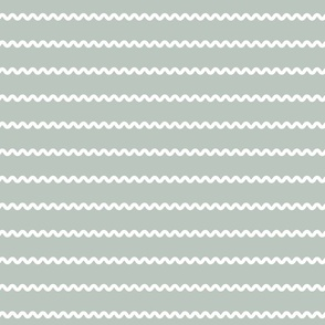 Rick Rack Stripes in white on green vintage retro sewing