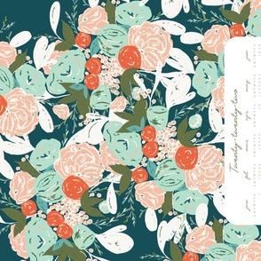 boho bouquet tea towel 2022