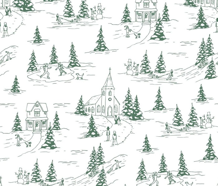 winter fun holiday toile - green - regular scale