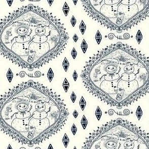 winter wintertime snowman toile, small scale, navy blue and ivory cream natural white, hand drawn, ornate