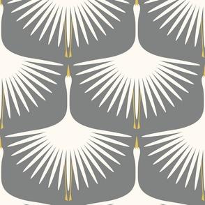 "Art Deco Swans - 12"" - Cream on Smoke"