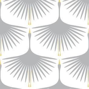 """Art Deco Swans - Cloud on White - 12"""""""