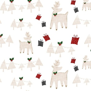 Holiday Deer White