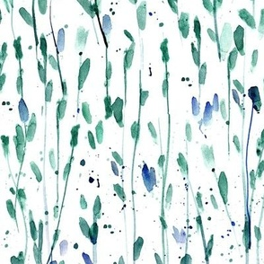 whimsical brush strokes forest - watercolor brush print loose branches - painted splatter leaves trees nature for modern home decor a568-3