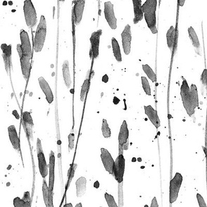Noir whimsical brush strokes - grey forest - watercolor loose branches - painted splatter leaves trees nature for modern home decor a568-17