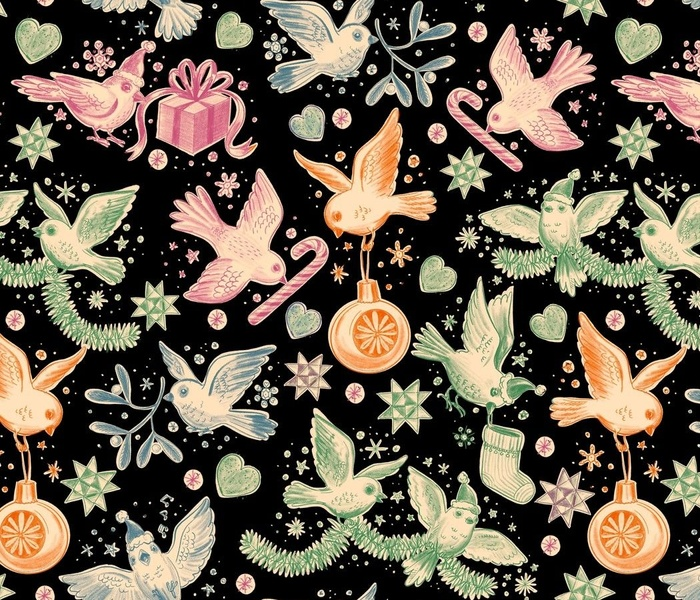 Busy Christmas Birds Toile De Jouy - Black