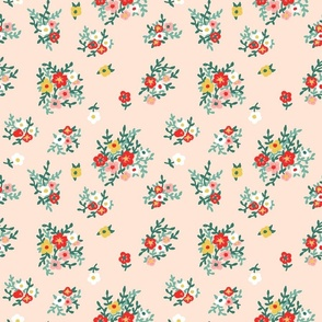70s floral in peach red green vintage retro