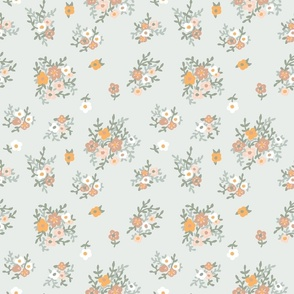 70s floral in muted green and orange vintage retro