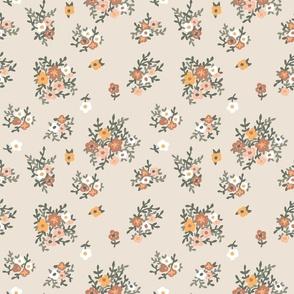 70s floral in neutral beige vintage retro