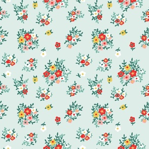 70s floral in red yellow green vintage retro