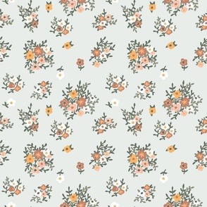 70s floral in muted green vintage retro