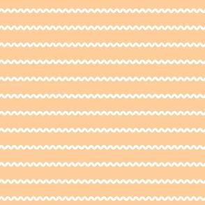 Rick Rack Stripes in white on light orange vintage retro sewing