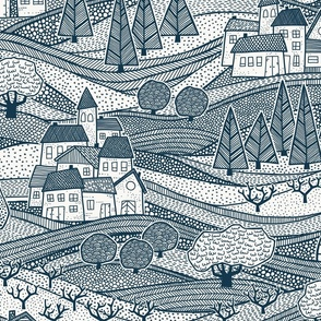 back to the village modern toile