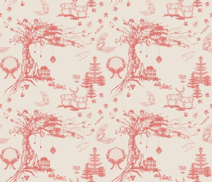 Oak and Elk holiday toile in Red