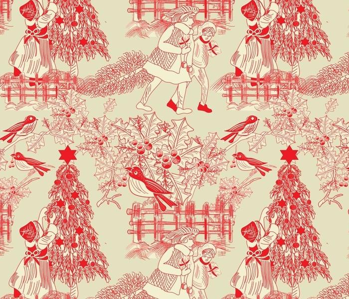 xmas tree toile print beige copy1