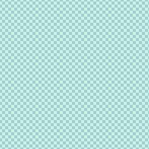 mini checker - mint and light blue