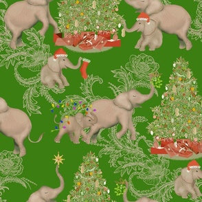 TOILE PACHYDERM HOLIDAY GREEN