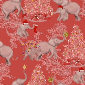 TOILE PACHYDERM HOLIDAY PINK