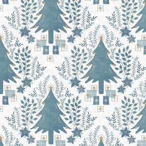 Christmas tree toile blue